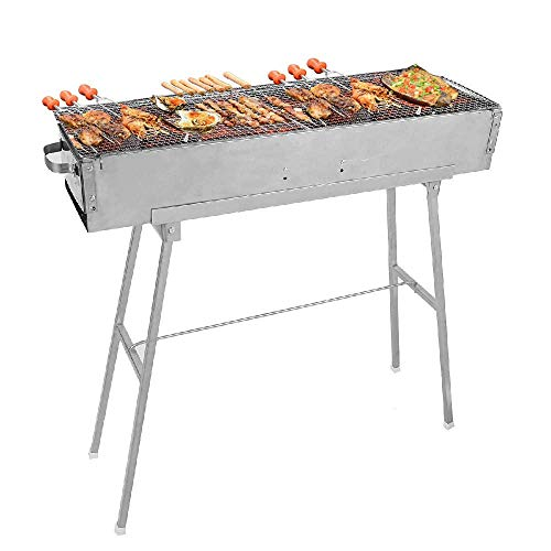 IRONWALLS Stainless Steel Charcoal Grill Steel Kebab BBQ Grill Barbecue Kit for...