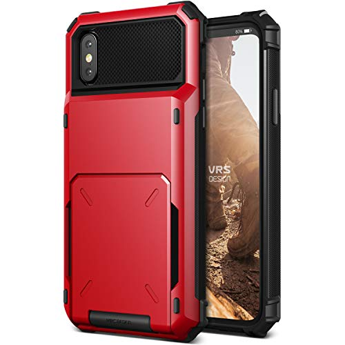 VRS Design iPhone X / XS Case, [Damda Folder] Protective Wallet 5 Card Holder Case Premium Shockproof Heavy Duty Cover Compatible with Apple iPhone X / XS - Metallic Red