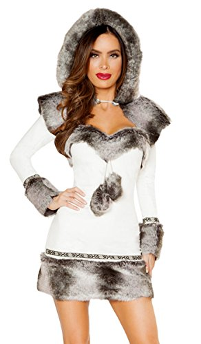 (Musotica Sexy Let It Snow Eskimo Faux Fur Long Sleeve Dress with Hooded Shrug - White/Grey -)