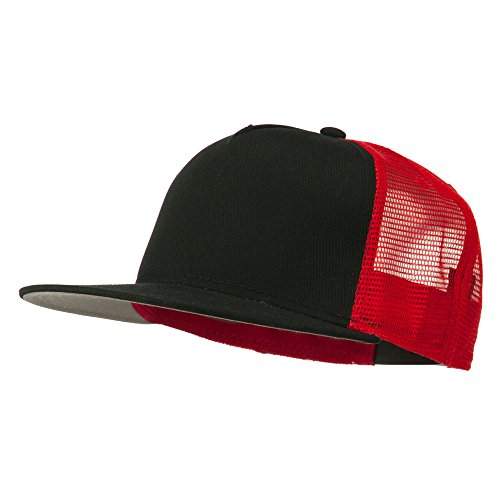 5 Panel Prostyle Trucker Caps - Black Black Red OSFM