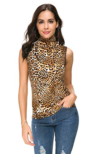 Women Sleeveless Mock Turtleneck/Crew Neck Pullover Plain Slim Fit T Shirt Top - Leopard Print Knit Top