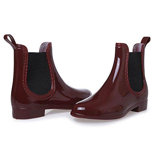 Sgoodshoes Damen Chelsea Boots Kurzstiefel Regenstiefel Gummistiefeletten Arbeitsstiefel Wasserdicht Rot