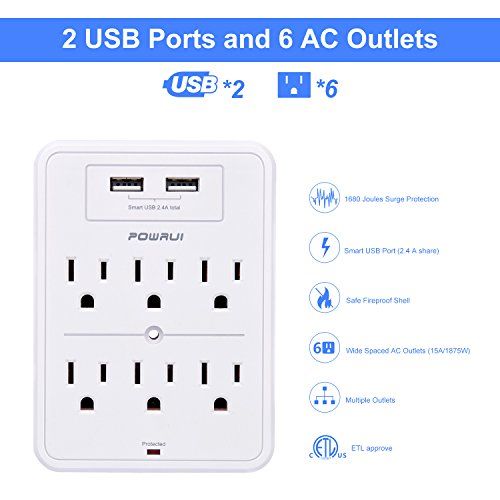 Surge Protector, POWRUI USB Wall Charger with 2 USB charging ports(smart 2.4A Total), 6-Outlet Extender and Top Phone Holder for iPhone iPad and more, White, ETL Certified by POWRUI (Image #1)