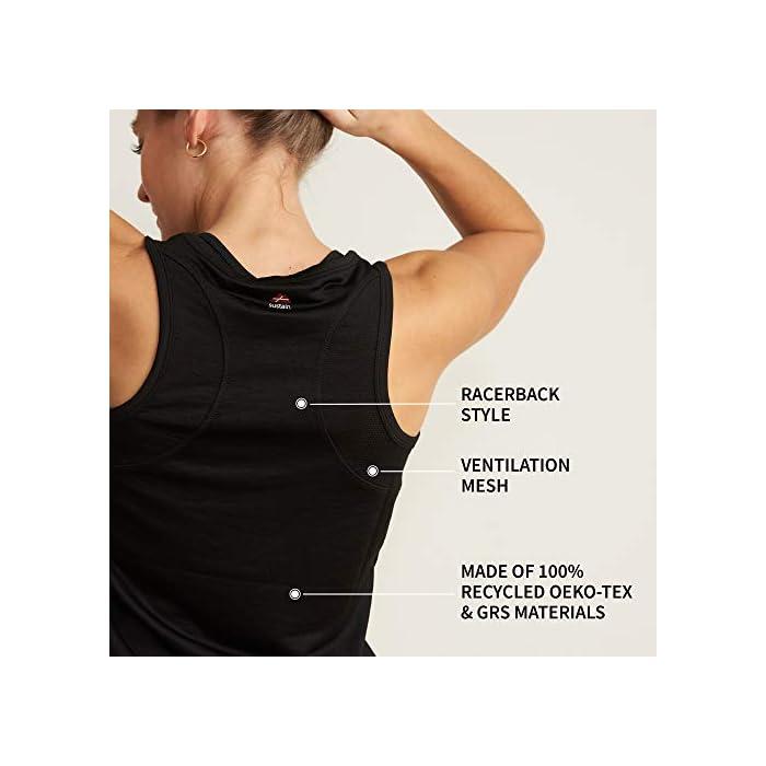 41EesqPGh L LA ELECCIÓN SOSTENIBLE PARA TU ENTRENAMIENTO: Nuestros tops de deporte SUTAIN para mujeres están hechos con materiales 100% reciclados a partir de y botellas de plástico recicladas. Estas camisetas están certificadas por OEKO-TEX estándar 100, BlueSign y GRS para entrenar cómoda y sosteniblemente TRANSPIRABLE Y CÓMODA: Esta camiseta sin mangas para mujeres, tiene un ajuste ceñido y se moldeará a la forma de cuerpo, aportándote libertad de movimiento. Esta camiseta de tirantes tiene incorporada un tejido en malla en la espalda para permitir que la piel respire durante los entrenamientos Materiales: Poliéster 100% reciclado