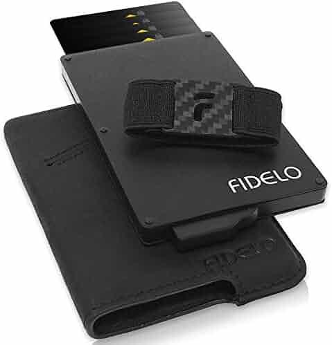 FIDELO Minimalist Wallet for Men - Slim Credit Card Holder RFID Mens Wallets with Leather Case