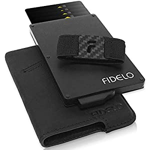 FIDELO Minimalist Wallet for Men – Slim Credit Card Holder RFID Mens Wallets with Leather Case