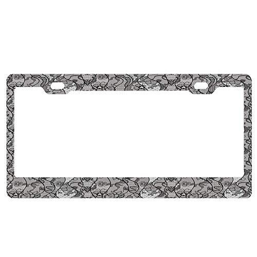 SportsFloraling Floral,Lace Gothic Pattern with Flower Effect and Leaves Ornamental Antique Feminine Design,Grey Black Customized Black License Plate Frame, Aluminum Metal License Plate Frame Holder