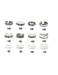 SaiDeng 12PCs/set Women Lady Unique Opening Finger Ring Retro Carved Toe Ring Foot Beach Foot Jewelry