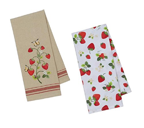 DII Coordinating Embroidered and Printed Cotton Dishtowel Sets of 2 Tea Towels (Strawberries)