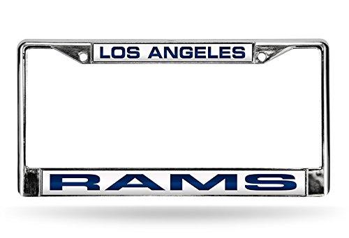 NFL Los Angeles Rams Laser Cut Inlaid Standard Chrome License Plate Frame, Chrome