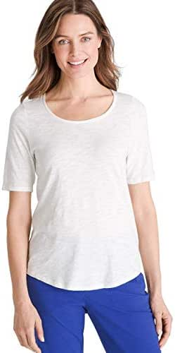 Chico's Women's Cotton Slub Elbow-Sleeve Tee Shirt