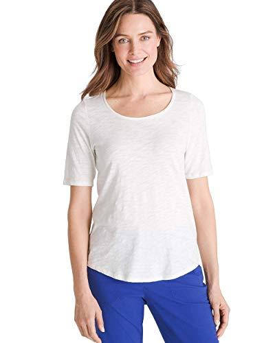 Chico's Women's Cotton-Blend Slub Elbow-Sleeve Tee Size 8/10 M (1) White