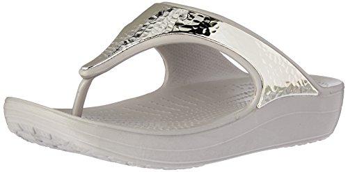 Crocs Sandalias Para Flip Beige Mujer Embellished platinum Sloane flop qSTag7x