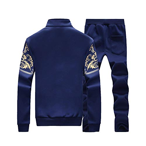 Clearance Sale!Realdo Men's Athletic Tracksuit Set Warm Running Jogging Sportwear Sweat Suit (XXX-Large,Dark Blue) by Realdo (Image #1)