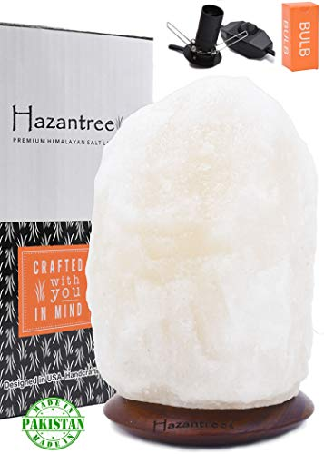 Hazantree Sutlej (5-8 lbs, 8 to 9) Pearl White Himalayan Salt Lamp with Rosewood, Dimmer Cord -Made in Pakistan- hymalain Salt Lamps, Salt Rock lamp, White hymalain Salt Lamps, himilian Salt lamp
