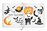 Halloween Stencil Set - Bundle - 2 items: Decoration + Card Making Sheets - Reusable Wall Stencils - Best Quality Halloween Ideas - Use on Walls, Floors, Fabrics, Glass, Wood and More...
