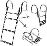 NovelBee Inboard Pontoon Boat Ladder Stainless Steel Telescoping Dock Ladder for Marine Boat Yacht Swimming Po