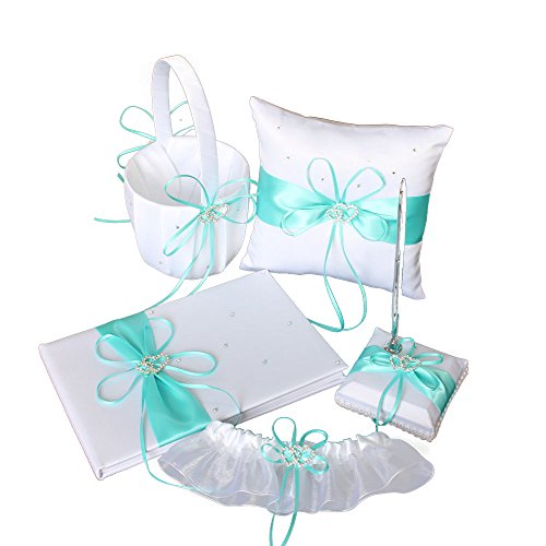 LAPUDA Double Heart Wedding Suit, a flower basket, a ring pillow, a guest book, a pen holder and a garter (Tiffany blue)
