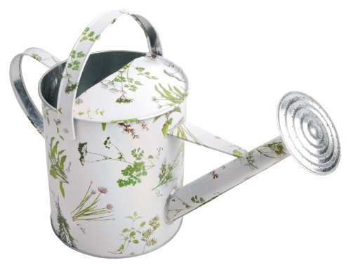 Esschert Design Herb Print Galvanized Outdoor Watering Can