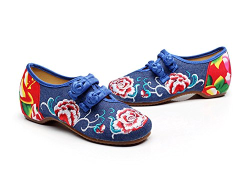 Peony Boat Blue Rubber Shoes Dancing Women Embroidery Shoes Sole AvaCostume q7aH5a