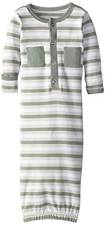 Lovedbaby Baby-Boys Organic Gown, Seafoam Stripe, 0-3m