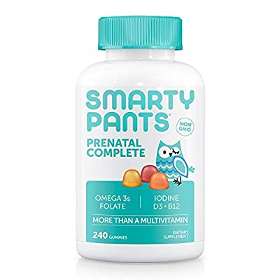 SmartyPants Prenatal Complete Gummy Vitamins: Multivitamin, Folate (Methylfolate), Vitamin K2, Vitamin D3, Methyl B12, Biotin, & Omega 3 DHA/EPA Fish Oil (240 Count)