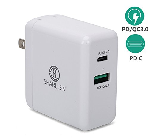 Price comparison product image USB C PD Charger,Dual-Port 45W Fast Wall Charger Adapter With Power Delivery 3.0 For MacBook/Pro, iPhone X/8/Plus, Samsung Note8 Nexus 5x, 6P, Nintendo Switch And More-SHARLLEN