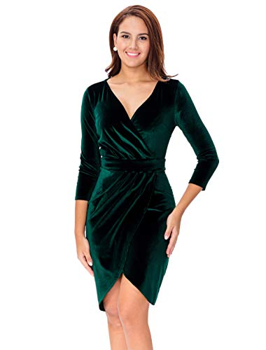 InsNova Winter Green V-Neck Long Sleeve Velvet Cocktail Dress for Women Wedding Guest