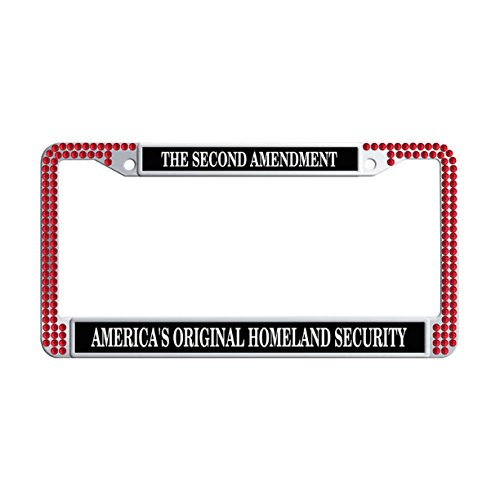 FuKongCase The Second Amendment America'S Rhinestone Metal License Plate Frames, Bling Diamond Original Homeland Security Stainless Steel Car Plate Holders with 2 Screws and Caps -