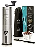 Lucky & Son Manual Coffee Grinder - Top Rated Hand Crank Conical Coffee Bean Grinder with Adjustable Ceramic Burr, Portable Mini Burr Grinder Mill for Travel, Best Coarse Grind for French Press