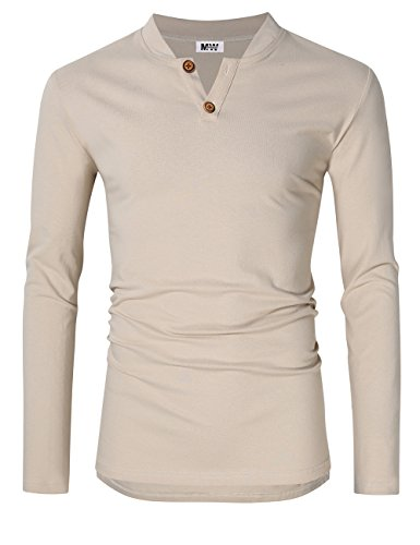 MrWonder Men's Casual Linen and Cotton V neck Long Sleeve Henley T-Shirts