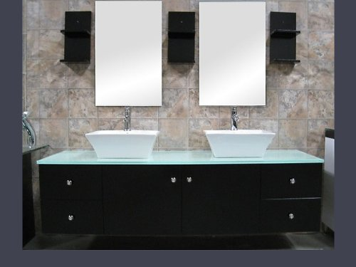 Design Element Portland 61'' Wall Mount Double Bathroom Vanity in Espresso w/ Vessel Sinks by Design Element