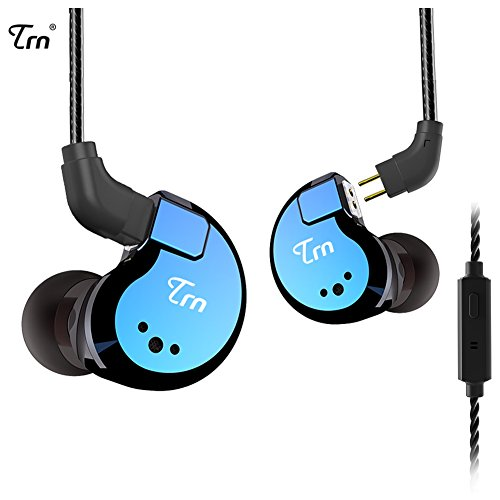 TRN V80 Hi-fidelity Stereo Bass Headphone, 2 Balanced Armature and 2 Dynamic Driver in ear earphone Metal Headset with Remote Control Detachable 2Pin Cable (Blue With Mic) by KINBOOFI