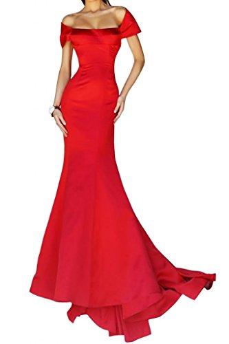 Mermaid Abendmode Satin Gorgeous Lang Festkleid Elegant Stil Packung Abendkleid Rot Schulter Bride nTv1YTRp