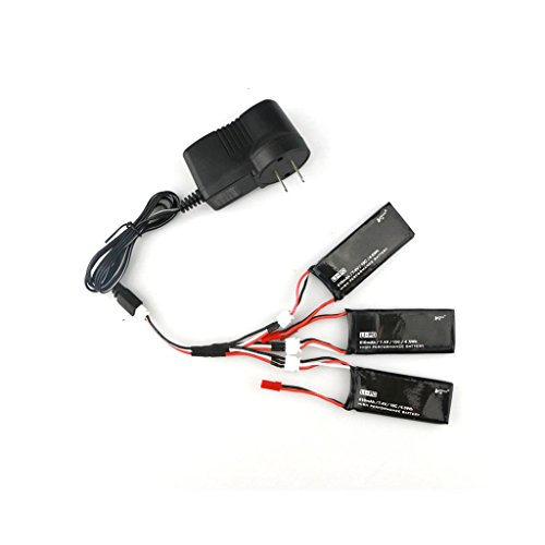 Dreamyth 3PCS JST Plug 7.4V 610mAh 15C 4.5Wh Battery For Hubsan H502S H502E RC Quadcopter (Black) by Dreamyth