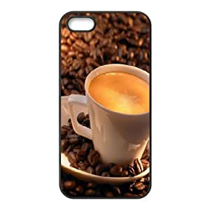 iPhone 5,5S Case,Coffee On Coffee Beans Hard Shell Back Case for Black iPhone 5,5S Okaycosama316097