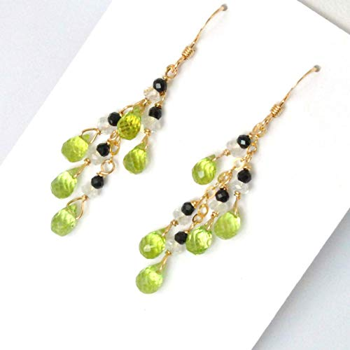 Peridot Briolette Earrings with White Topaz and Black Spinel Handcrafted in 14K Gold Filled