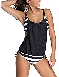 DJT Women's Stripes Push Up Paded Tankini Two PiecesSwimsuit Set