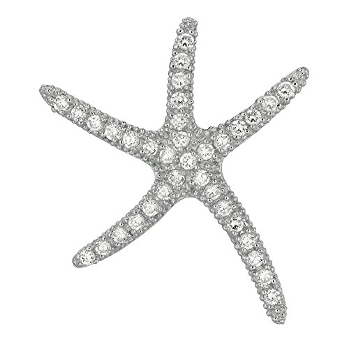 Jewelstop 925 Sterling Silver Large Star Fish CZ Sea Life Pendant - 32x40mm