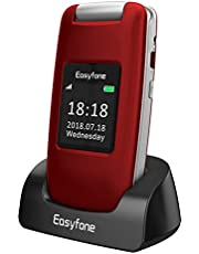 Easyfone Prime-A1 GSM 3G Unlocked Senior Flip Mobile Phone, Big Button Hearing Aids Compatible Easy-to-Use Basic Cell Phone with Charging Dock(Red)