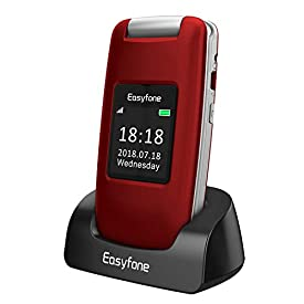 Easyfone Prime A1 3G Unlocked Senior Flip Cell Phone, Big Button Hearing Aids Compatible Easy-to-Use Cell Phone with Charging Dock (Red)
