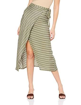 All About Eve Women's Savannah Midi Wrap Skirt, Vwhite Khaki Stripe, 10