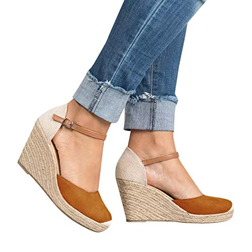 - FISACE Womens Brown Summer Espadrille Heel Platform Wedge Sandals Ankle Buckle Strap Closed Toe Shoes