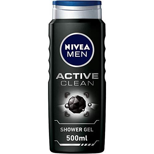NIVEA MEN Active Clean Charcoal Shower Gel, Woody Scent, 500ml