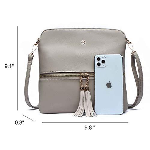 Amelie Galanti Lightweight Medium Crossbody Bag Shoulder Bag with Zipper Pocket and Tassel (KHAKI)
