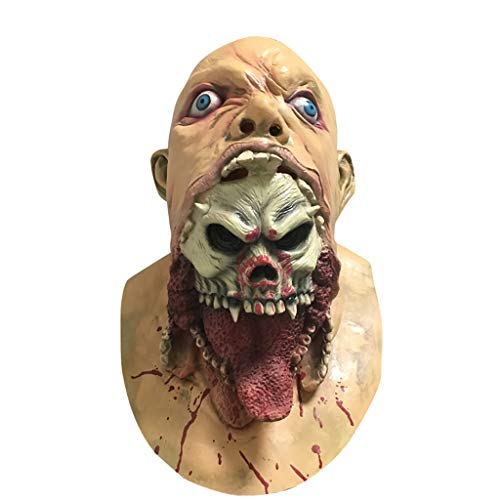 Samoii Creepy Bloody Mask, Latex Cosplay Melting Face Masks Adult Costume Walking Dead Halloween Scary -