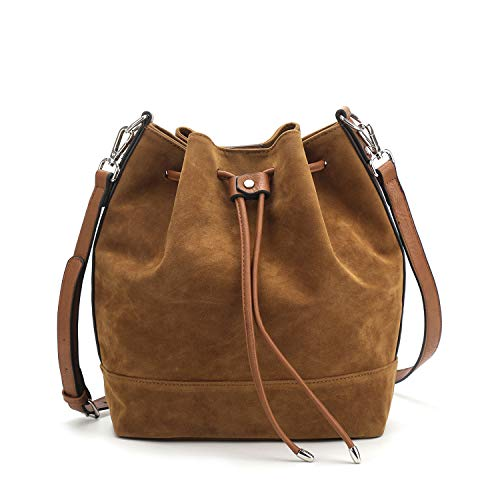 Suede Leather Tote Bag - Drawstring Bucket Bag for Women Large Crossbody Purse and Shoulder Bag Suede Tote Handbags