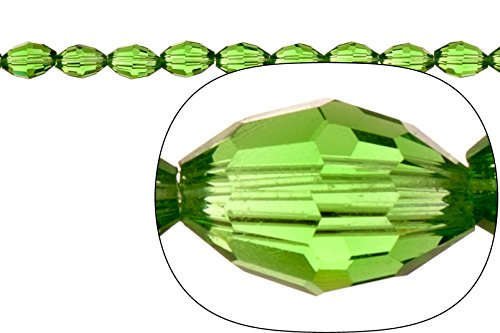 Crystal bead, center-drilled 42-facet oval cut, fern green, 6x8mm