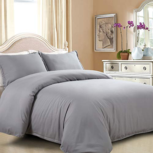 EASELAND Duvet Cover Set Queen Grey Lightweight and Soft 3 Pcs-1 Microfiber Duvet Cover Matching 2 Pillowcase Wrinkle, Fade, Stain Resistant.( Without Duvet and ()
