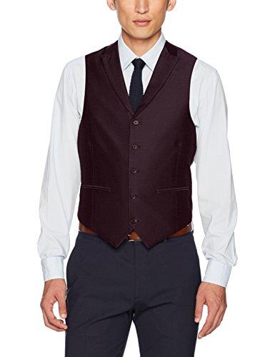 Steve Harvey Men's Solid Regular Fit Suit Seperate Vest, Merlot, Large by Steve Harvey